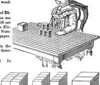 This is an illustration of a child playing with building blocks.