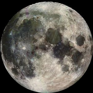 This is an image of the full moon taken by the Galileo spacecraft.