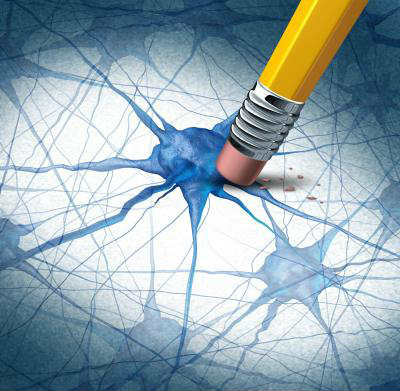 The image shows a neuron and a pencil.