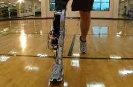 This is the robotic leg, shown from a frontal view.