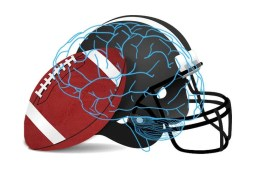 This image shows a football, helmet and a brain.