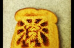 This image shows jesus on a piece of toast.