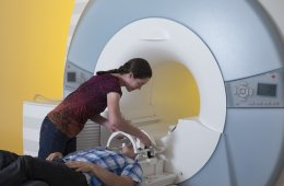 This image shows a study participant in an MRI machine.