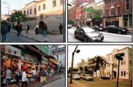 Images show four different townscapes.