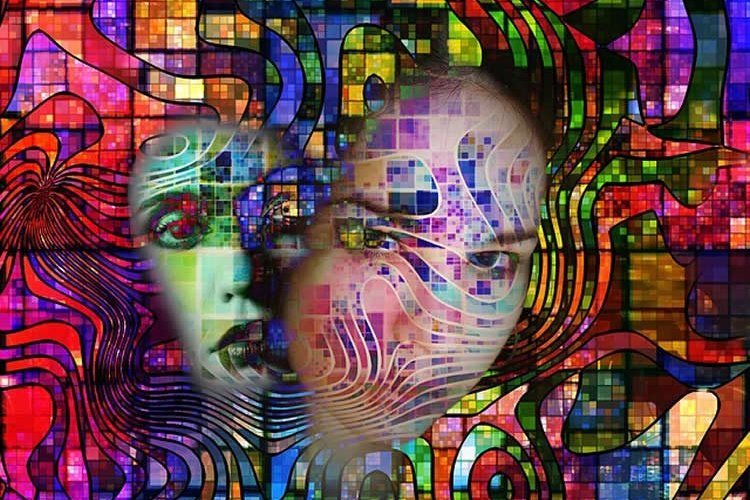 This shows a woman's face surrounded by colorful swirls.