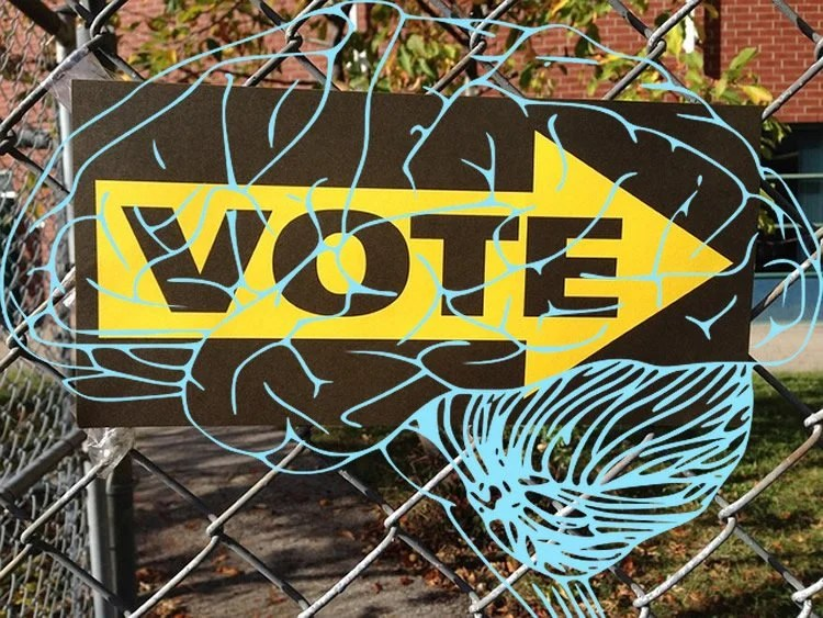 Image shows a voting sign with a blue brain drawing overlayed.