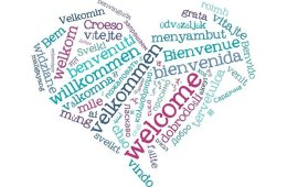 This image shows a heart made up of the word Welcome in different languages.