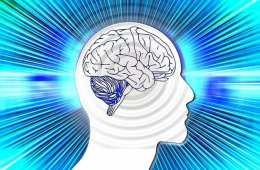 This image shows the outline of a human head with a brain drawing inside. Radiating outwards are some blue lines.