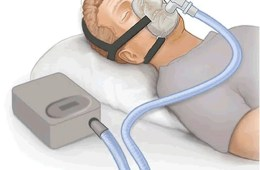 Drawing of a man using a CPAP machine.