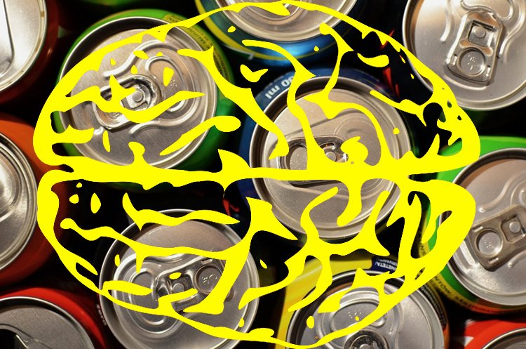 Image shows soda can tops and a yellow brain drawing overlayed.