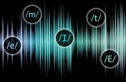 This shows blue sound waves and letters in circles.