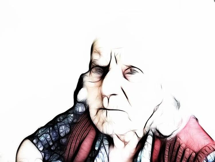Drawing of an old lady.