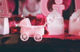 Photo of baby girl decorations from a baby shower.