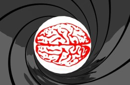 This image shows the iconic Bond gun barrel from the opening credits with a brain in the barrel view.