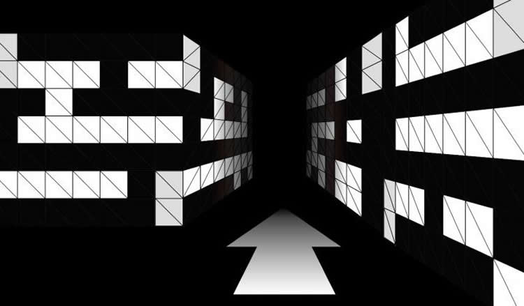 Image of a black and white maze.