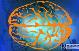 Image shows the outline of a brain against a DNA strand background.
