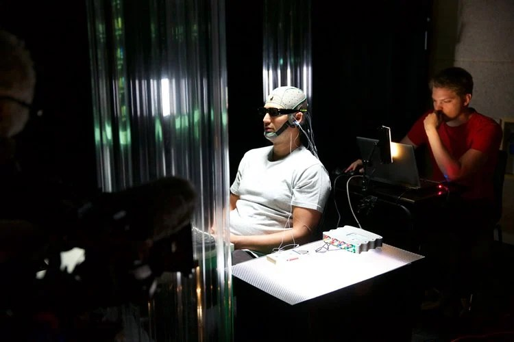 Jason Silva in an EEG cap.