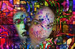 Image of a woman and swirling colors.