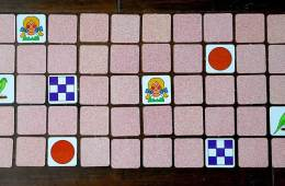 Image shows a flip board memory game.