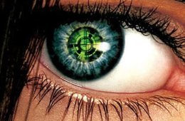 Image shows a green bionic eye.