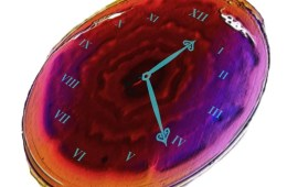 Image shows a clock face on a cell.