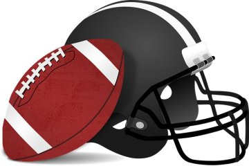Image shows a football and helmet.