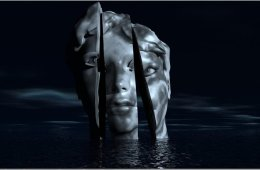 Image shows a model head split in three parts against a dark background.