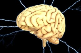 Image shows a brain and lightening.
