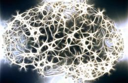 Image shows a brain made up of neuron like lights.