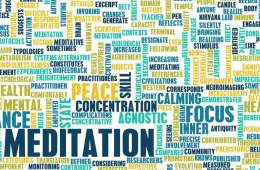 Image shows a words associated with meditation.