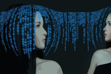 Image shows a woman surrounded by binary code to imply artificial intelligence.