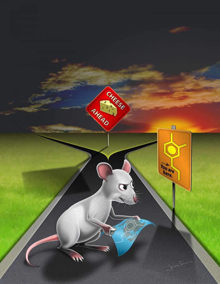 Image shows a drawing of a mouse and dopamine molecule.
