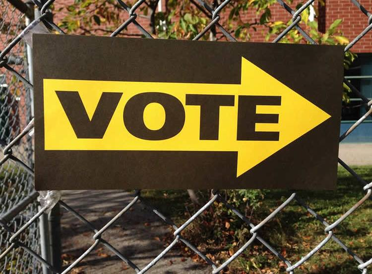 Image shows a sign that says vote.