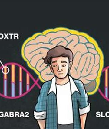 Image shows a person, a DNA strand and food.