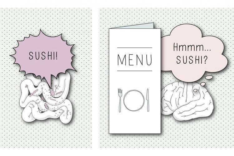 Image shows a gut and brain looking at a menu.