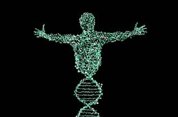 Image shows person made up of dna double helixes.