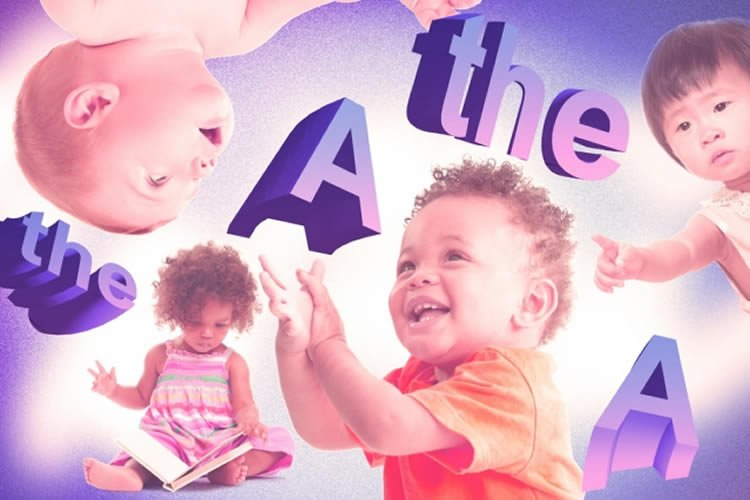 "Image shows toddlers and the words ""a"" and ""the""."