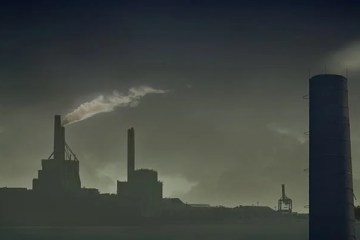 Image shows smoke stacks.