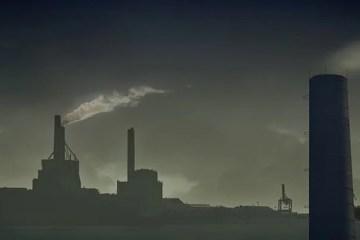 Image shows smoke stacks.