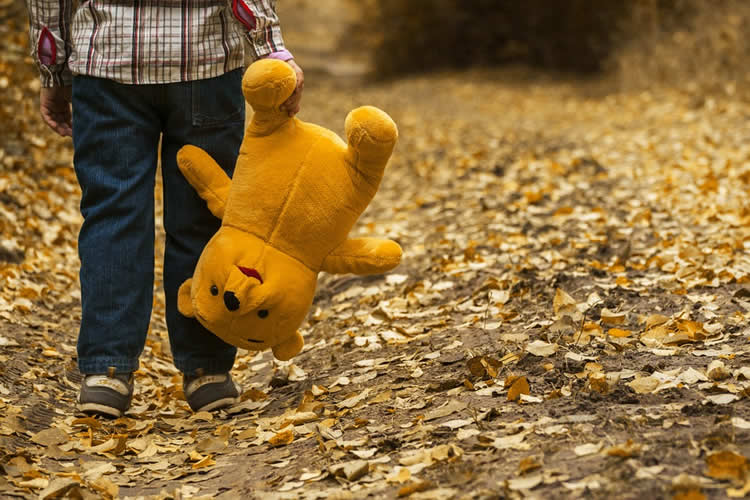 Image shows a child carrying a teddy.