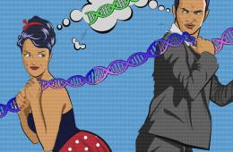 Image shows a man, woman and dna.