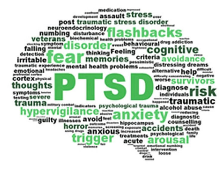 Image shows a brain made up of words associaed with PTSD.