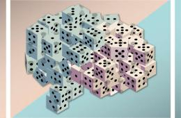Image shows a brain made up of dice.