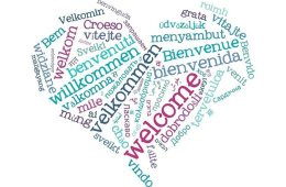Image shows heart with words in different languages.
