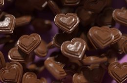 Image shows chocolate hearts.