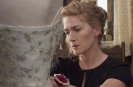 Image shows possibly Kate Winslet making a dress.