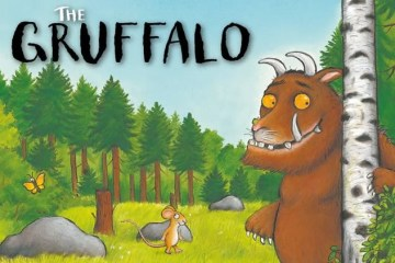 Image shows the Gruffalo and mouse in the deep dark wood.