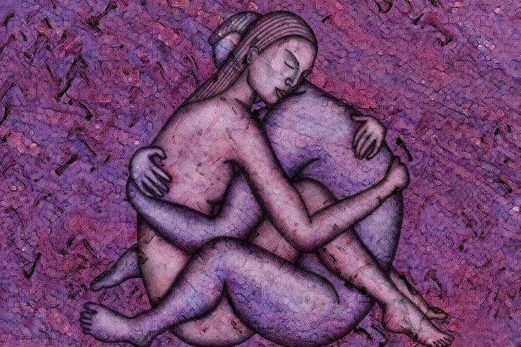 Image shows a painting of lovers embracing.
