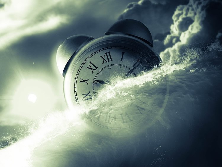 Image shows a clock and clouds.