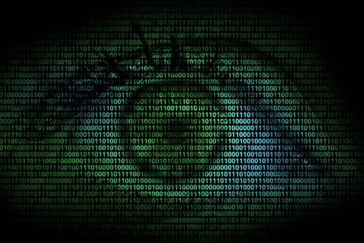 Image shows an eye and binary code.